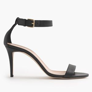 NWOT J. Crew Black Leather Ankle Strap Heels
